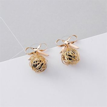 DoreenBeads Hollow Wire Ball Earrings Bowknot Rose Gold Color Ear Stud Post Multicolor Rhinestone Fashion Women Jewelry 1 Pair