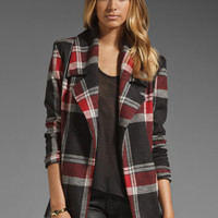 AGAIN Lindbergh Lined Stretch Coat in Red Flannel from REVOLVEclothing.com