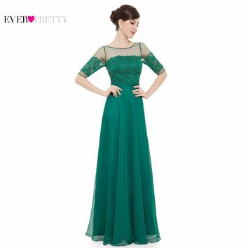 Prom Dresses Ever Pretty HE08459 New Arrival Elegant Green Half Sleeves Maxi Prom Gown Prom Dresses