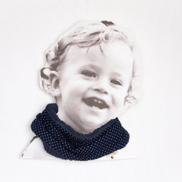 Baby scarf bib. Stylish drooler bib for little dribblers. Baby and toddler.Blue and dots.