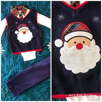 Bonnie Jean Boys Navy Blue Santa Sweater Pant Set
