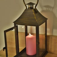Vintage bronze Lantern / Rustic lantern / Lanterns / wedding lanterns / wedding lantern centerpiece
