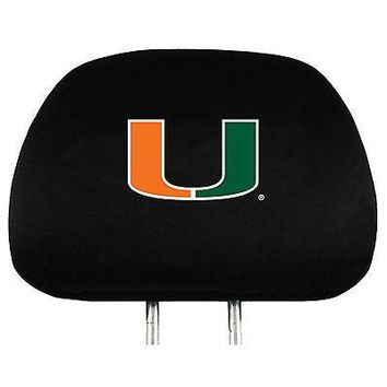 Miami Hurricanes 2-pack Black Velour Auto Head Rest Cover Covers University of