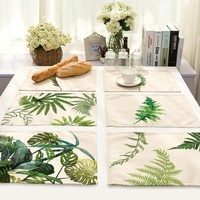 SunnyRain 4/6-Pieces Linen Cotton Leaves Table Cloth Placemat Sets Table Decoration Table Runners 42x32cm