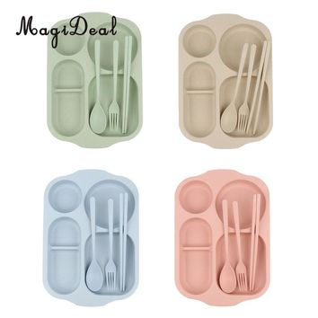 MagiDeal Divided Dinner Tray Lunch Container Food Serving Plate 5 Section with Chopsticks Spoon Fork Cutlery Tableware Set