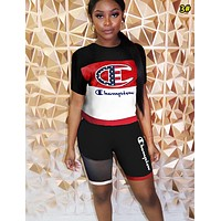 Champion Fashion New National Flag Letter Logo Print Sports Leisure Top And Shorts Two Piece Suit 3#
