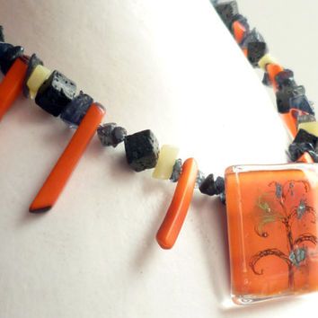 Orange necklace - Gemstone necklace - Iolite necklace - Fused glass pendant - Agate necklace - Colorful charm necklace - Lava necklace