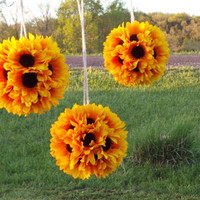 Sunflower Burlap Wedding, Sunflower Pompoms,  Bridal Shower Decor