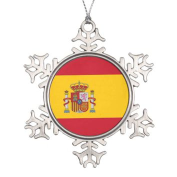 Snowflake Ornament with Spain Flag