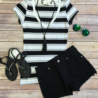 Double Striped V-Neck Tee: Black