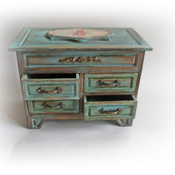 20% OFF Mothers Day Cottage chic Makeup Organizer.Chest of Drawers. Wooden Cosmetics Stand.French Chic Jewelry Holder.Antique Chest Drawer