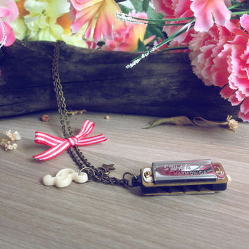 Harmonica Vintage necklace. Music necklace. Mini Harmonica, red french bow vintage chain, harmonica charm, music note necklace music jewelry