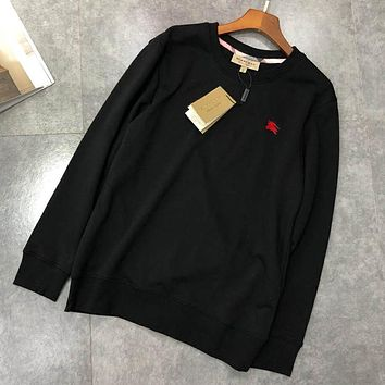 Burberry Autumn And Winter New Fashion Embroidery Long Sleeve Women Men Top Sweater Black