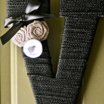 "13"" Personalized Black Twine Monogram Wreath with Handcrafted Burlap and felt flowers"