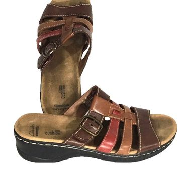 Clarks Collection Soft Cushion Wedge Slide Sandal Brown Red Tan Womens 10M 10 M - Preowned