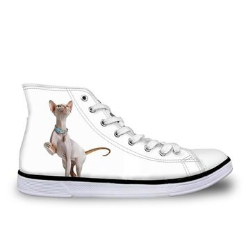 Women Canvas Shoes Cute Canadian Cat Print Top Vulcanized Shoes for Girls Ladies Sneaker Lace-up