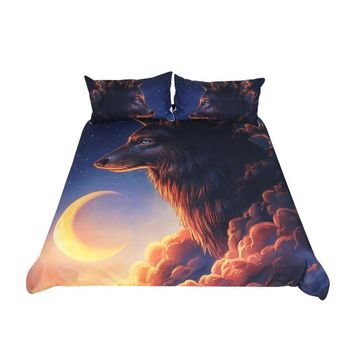 Night Guardian by JoJoesArt 3Pcs Bedding Set Wolf And The New Moon Duvet Cover With Pillowcases