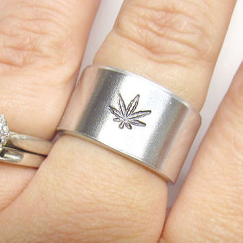 Marijuana Ring - Handstamped Ring - Pot Leaf Ring - Weed Ring - Handstamped Jewelry - Mens Gifts - Personalized Ring - Cannabis Ring