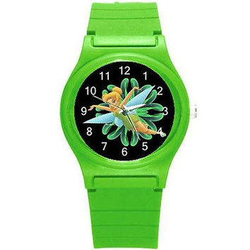 Tinkerbell on a Black Background on Green Plastic Watch...Great for Color Lovers
