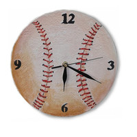 UNIQUE baseball WALL CLOCK wooden clock handmade toddler room decor home decor gifts for men sport Hand painted clock wall decor