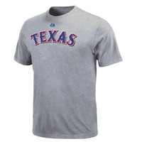MLB Texas Rangers Adult Short Sleeve Basic Tee (Steel Heather, Medium)