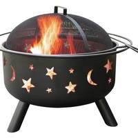 Orbit Night Sky Stars Moon Fire Pit Fireplace