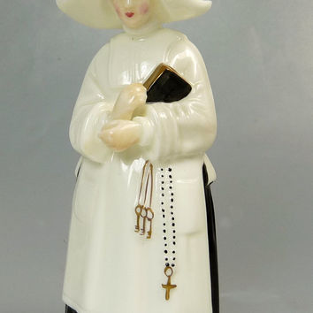 Vintage Royal Worcester Nun Candle Snuffer Fine Bone China Figurine