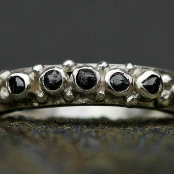 Rough Black Diamond and Sterling Silver Half-Eternity Band- Custom Made