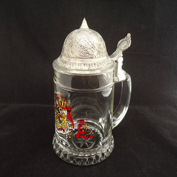 Vintage German Beer Stein, Beer Stein,Western German Lidded Stein,Pewter Lid Beer Mug,German Clear Glass Beer Stein,Collectable German Stein