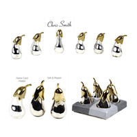 Kitschy Table Decor, Eggplant Name Card Holders, Salt & Pepper Sets, 2-Tone Silver and Gold