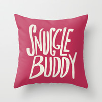 Snuggle Buddy x Pink Throw Pillow by Leah Flores