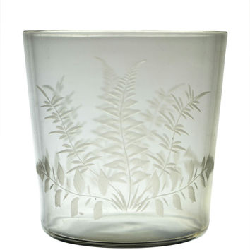 Glass Whisky Tumbler with Fern Antique English 19th Century