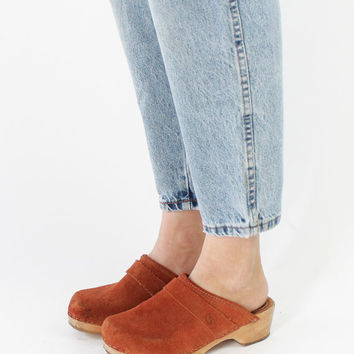 Vintage 70s Rust Brown Suede Leather Wood Clogs | 7.5