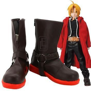 Anime Fullmetal Alchemist Edward Elric Cosplay Halloween Party Shoes Brown Boots Custo