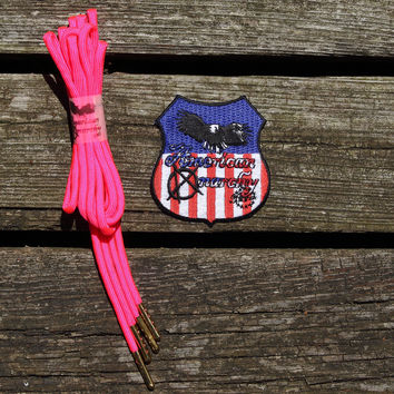 Neon Pink Paracord Shoelaces/ Gold Tipped by American Anarchy Brand