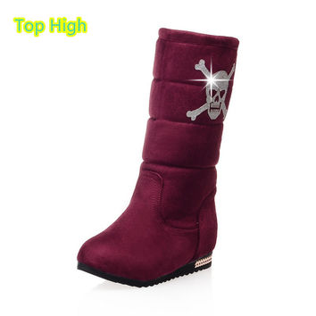 Big size 34-43 Women Half Knee High Boots Vintage Flats Heels Skull Warm Winter Fur Shoes Round Toe Snow Boots zapatos mujer