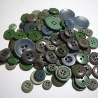 Vintage Buttons Shades of Green lot of 96 destash scrapbook craft sewing supplies