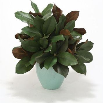 Silk Magnolia Foliage In Celadon Stoneware Pot