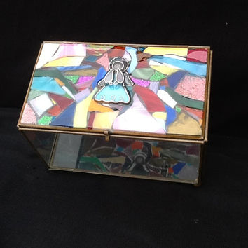 Stained Glass Angel Trinket Box, Glass Box, Jewelry Box, unique gift idea, Christmas, Mothers Day, Birthday, Anniversary, Bridal Shower Gift