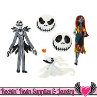 DISNEY The Nightmare Before Christmas JACK, SALLY & ZeRO Dress It Up Licensed Jesse James Buttons Or Turn them into Flatback Cabochons
