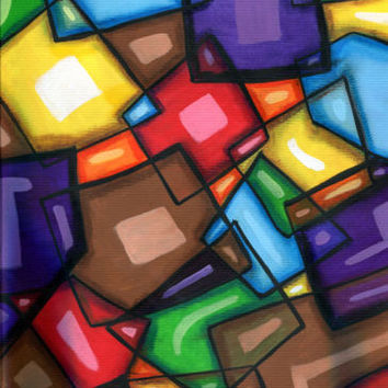 modern geometric cubist abstract original art painting squares rectangles E B