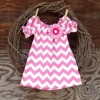 Girls pink  Chevron Dress, Chevron dress, Girls Easter Dress, Pink and white,  6, 12, 18, 24 mon, 2 T, 3 T, 4 T, 5, 6, 7, 8, 10