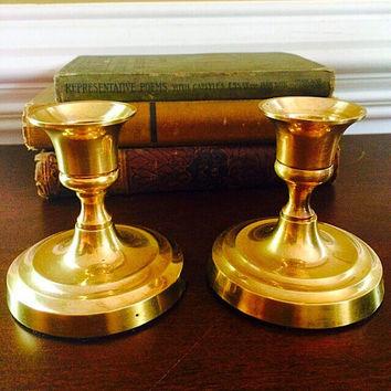 Vintage Brass Candlesticks, Pair Vintage Brass Candle Holders, Gold Candlesticks Hollywood Regency Decor, Vintage Home Decor