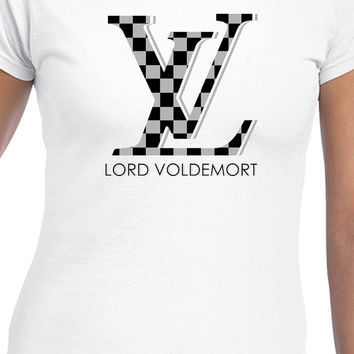 Gray Checkered Louis Vuitton Lord Voldemort Harry Potter Logo T-Shirt