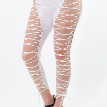 Sexy Lace Up Leggings (White)