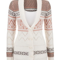 Patterned Button Down Cardigan With Collar - Rose Dawn Combo