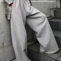 Simple 2 Colors Wide Leg Bottom Casual Pants