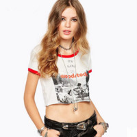 Fashion Casual Multicolor Stitching Letter Pattern Print Short Sleeve T-shirt Crop Tops