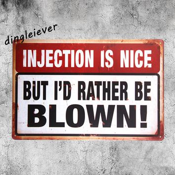 Injection is nice BLOWN! wall decorations for bedroom vintage metal sign garage art wall sticker home decor