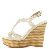 White Qupid Strappy Platform Wedge Sandals